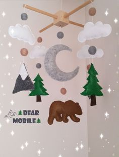 Your place to buy and sell all things handmade Cute Gifts, Baby Gifts, Cloud Nursery Decor, Woodland Mobile, Mobile Holder, Baby Crib Mobile, White Clouds, Felt Ball, Felt Animals