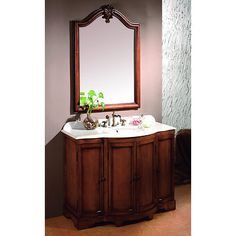 B.J.'s Dover  Bathroom Vanity with 3 Storage Cabinets - Fruit Stain.   Like the mirror!