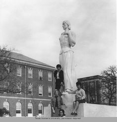 Texas Woman's University 1966 Senior Class officers in front of the Pioneer Woman statue. Clockwise from top: Francie Gibbs, president; Ceres Vandiver, vice president; Romelia Quintanilla, treasurer; Jeanne Olson, secretary. #twu