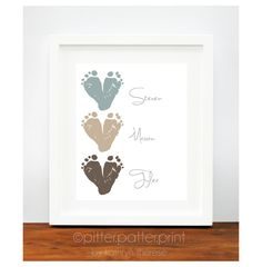 Gift for Grandparents Baby Footprint Hearts by PitterPatterPrint