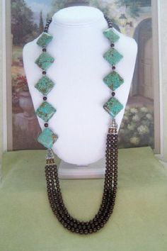 Turquoise and Pearl Necklace T34 SALE 10 OFF by dkdesigns8238, $54.00