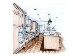 Traditional: Hand drawn color marker kitchen perspective drawing. By Mike Ricereto