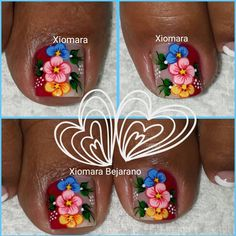 La imagen puede contener: texto y comida Manicure, Aycrlic Nails, Pedicure Nail Art, Toe Nail Art, Cute Toes, Pretty Toes, Pretty Face, Toe Nail Designs, Flower Nails