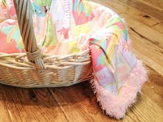 An adorable custom baby blanket with fabric designed just for your new arrival!