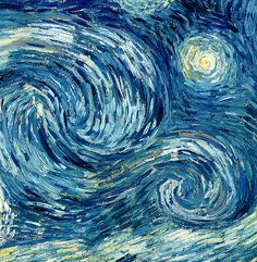 Detail Of The Starry Night ...Vincent van Gogh painting.