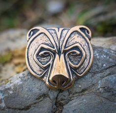 URSUS ours tête pendentif bijou Bronze collier Viking celtique païenne nordique bijoux bijoux Native Slave Grizzly Animal sauvage à la main