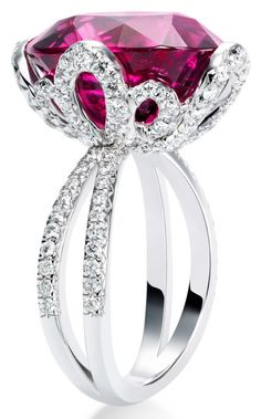 Couture Précieuse Ring by Piaget - 18k white gold set with an oval cut rubellite and 120 diamonds