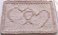 Inter-locked Hearts Dishcloth #free #knit #knitting #pattern #heart #freeknittingpattern