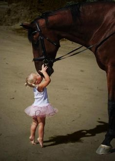 Little girl in tutu with horse