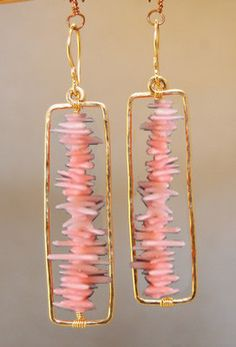 Bohemian 63 Hammered rectangle earrings with pink coral