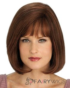 New Short Straight Brown 12 Inch Human Hair Wigs