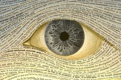 Large eye and newspaper strips