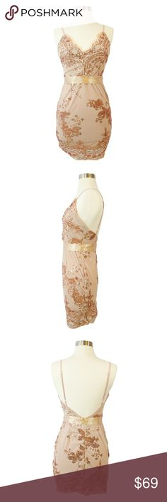 Spotted while shopping on Poshmark: Gold and Beige Backless Bodycon Sequin Dress! #poshmark #fashion #shopping #style #MBM Unlimited #Dresses & Skirts