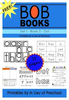 FREE BOB Books Printables for Beginning Readers: Set 1, Book 3 Dot
