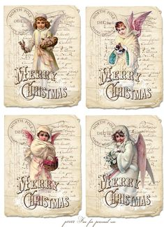 Vintage Christmas cards Digital collage p1022 Free for personal use