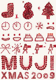 Muji 2009 Japanese Graphic Design, Graphic Design Layouts, Graphic Design Posters, Christmas Poster, Christmas Mood, Christmas Design, Typography Prints, Hand Lettering, Supermarket Design