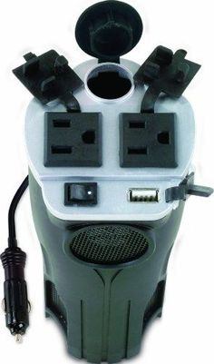 Love that this charger for everything fits in a cup holder in the car. Rally 7413 200W Cup Holder Power Inverter with USB Port:
