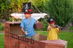 This web site has it all...decorations (including this large pirate ship), activities, games, costumes, cake ideas, booty bags, invitations and more.