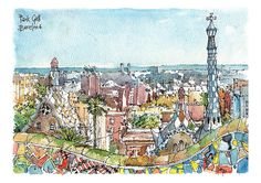Watercolor Barcelona print SIGNED BY HAND by the Catalan illustrator Daniel Pagans. PRINT High quality print on watercolor paper PRESENTATION Transparent protective envelope with a drawing Barcelona label. Arts Barcelona, Antoni Gaudi, Painter Artist, Illustration, Urban Sketchers, Watercolor Sketch, Art Inspo, Paris Skyline, Sketches