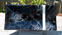 Poppy Print Fused Glass Sushi Platter, Fused Glass Platter, OOAK Black Opal White Poppies Fused Glass by HydeParkHill on Etsy
