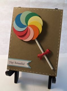 Lollipop Card Cards Diy, Kids Cards, Handmade Cards, 3rd Birthday, Birthday Cards, Birthday Parties, Card Crafts, Punch Art, Cardmaking