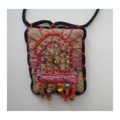 Rectangle Colorful Hand Embroidered  Necklace with Beads