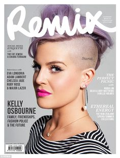 Cover star:Kelly flaunts her beauty prowess wearing a bold, fuschia pink lipstick, a feline flick of black eyeliner and lashings of black mascara