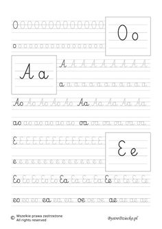 OAE - nauka pisania sylabami - karty pracy dla dzieci Teaching Cursive Writing, Numbers For Kids, Handwritten Letters, Worksheets For Kids, Colouring Pages, Handwriting, Hand Lettering, Crafts For Kids, Science
