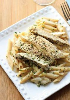 """Basil Chicken with """"Skinny"""" Alfredo Sauce is the perfect date night dinner!"""