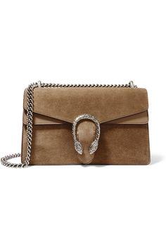 Gucci | Dionysus medium leather-trimmed suede shoulder bag | NET-A-PORTER.COM