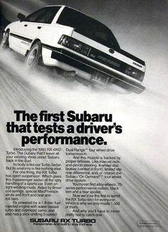 "1985 Subaru RX Turbo Vintage Print Ad: ""The First Subaru that Tests a Driver's Performance"""