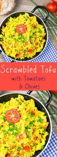 Scrambled tofu with tomatoes and chives. #vegan #breakfast #brunch @veganheavenorg