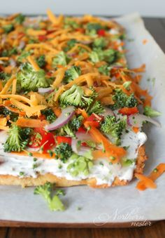 This low-carb Veggie Pizza is the THM S version of the Pillsbury crescent classic! It keeps well in the fridge for a quick and easy lunch all week long!