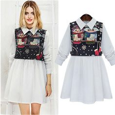 New 2015 Autumn Winter Fashion Women Two piece Dress Printing Retro Jacquard Slim Vest Lapel  Long sleeved Dress-in Dresses from Women's Clothing & Accessories on Aliexpress.com | Alibaba Group