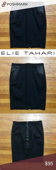 """GORGEOUS Elie Tahari Black Skirt w/ Great Details Absolutely gorgeous Elie Tahari skirt, perfect for work and easily transitions to dinner afterwards. Size 4, 21"""" long, cotton blend with a little stretch. Gorgeous exposed zipper on the back and beautiful vegan leather """"pocket"""" detail on the hips. (Not actual pockets but the fabric is where pockets would be). In very very good used condition, no stains, holes or pilling. Elie Tahari Skirts Pencil"""