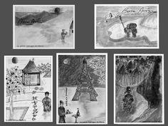 Cartes de vœux au crayon graphite