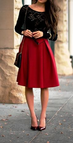 Romantic combination red long skirt and black lace top