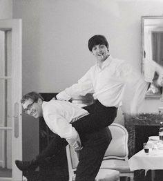 Paul McCartney and Mal Evans