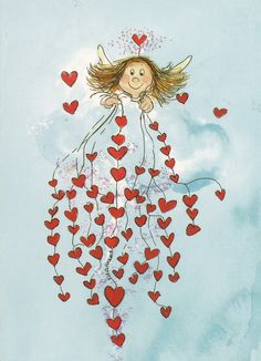 Angel of hearts.my sweet darling Angel Vylette Moon ❤️🌙❤️ Heart Art, Love Heart, Art Fantaisiste, Angels Among Us, Guardian Angels, Angel Art, Whimsical Art, Cherub, Art Drawings