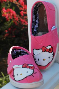 Hello Kitty Custom Painted TOMS Shoes by KitchenCounterCrafts, $60.00