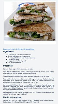 Broccoli and chicken quesadillas