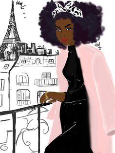 Afro Girl X Balcony In Paris par Nikisgroove sur Etsy