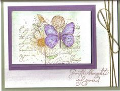 Stamps: Garden Collage Paper: Mellow Moss, US Vanilla, Eggplant Envy Ink: Basic Brown Accessories: watercolor pencils, Gold Cord, Aqua pen  Garden Collage Butterfly
