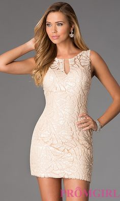 Short Sleeveless Lace Sequin Dress by Dave and Johnny DJ-1124
