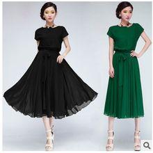 2015 Limited Top Fashion Short Flower Dress Vestidos Femininos Vestido Plus Size Loose Short-sleeve Chiffon Belt One-piece Dress(China (Mainland))