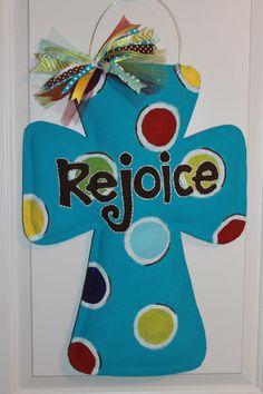 Turquoise Dot Funky Rejoice Burlap Cross by TrucksCreativeCrafts, $35.00