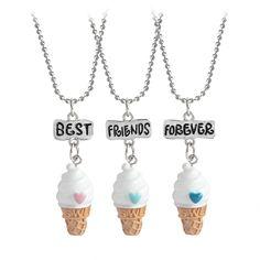 3 unids Mejores Amigos Para Siempre Alimentos Miniatura helado Collares pendientes Del Corazón Del Amor Amistad BFF Creativo Recuerdo de Regalo de Navidad