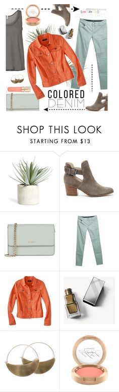 """""""Colored Denim Jeans & Jacket"""" by colierollers ❤ liked on Polyvore featuring Allstate Floral, Sole Society, DKNY, Armani Collezioni, Mossimo, Burberry, Lila Rice, Smith & Cult and coloredjeans"""