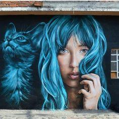 """Stunning photorealistic Street Art portrait by David SA & GP ASK in Mexico Grafitti Street, Street Wall Art, Urban Street Art, Murals Street Art, Graffiti Murals, Art Mural, Urban Art, Banksy, Pop Art"