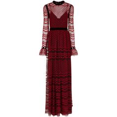 Philosophy Di Lorenzo Serafini Red Embroidered Lace Tiered Gown ($1,045) ❤ liked on Polyvore featuring dresses, gowns, red long sleeve dress, long sleeve lace dress, red lace evening gown, long-sleeve maxi dresses and red maxi dress